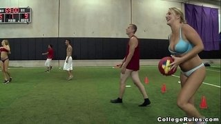 Young-Teens-Play-Strip-Dodgeball-on-College-Rules-(cr12385)