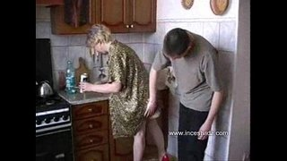 Son-fucks-mom-in-the-kitchen-while-his-father-at-work