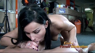 Dark-haired-femdom-gives-her-slave-a-blowjob-after-ballbustin