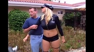 Busty-blonde-female-officer-gets-DPed-in-stockings