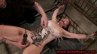 Bonded-sub-gets-toy-on-pussy-from-her-master
