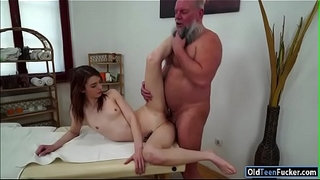 Czech-Tera-Link-fingered-by-old-masseur-and-sucking-his-cock