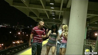 Three-HOT-sluts-start-orgy-in-public-while-waiting-for-the-train