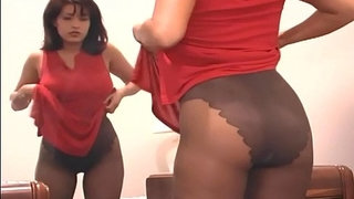 Hot-mom-fingering-her-pussy-in-sheer-pantyhose