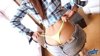 Perfect-Latino-Round-Ass!OMG!-Body-in-Skirt-and-Tiny-Thong!