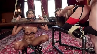 Slaves-getting-ass-to-mouth-in-threesome-bondage