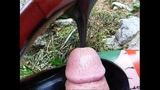 Outdoor-public-red-heel-insertion-into-cock