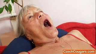 Ugly-grandmother-Cecilie-toys-her--unshaven-cunny