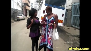 Bald-lesbian-african-woman-gives-head-in-shower