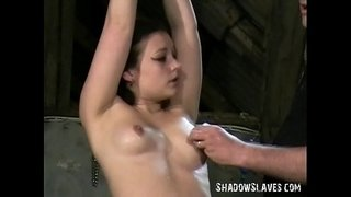 Young-slave-girl-Pixie-tied-and-whipped-to-tears-in-harsh-small-tit-spanking