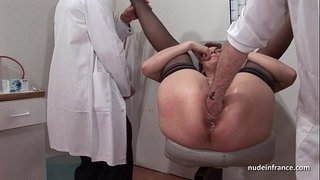 French-squirt-redhead-ass-inspected-doublefist-fucked-at-the-gyneco
